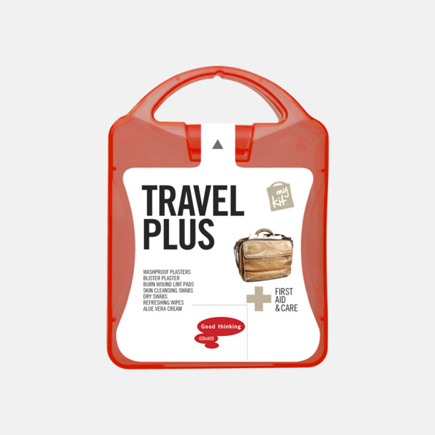 Med reklamlogo Travel plus aid kit med reklamtryck