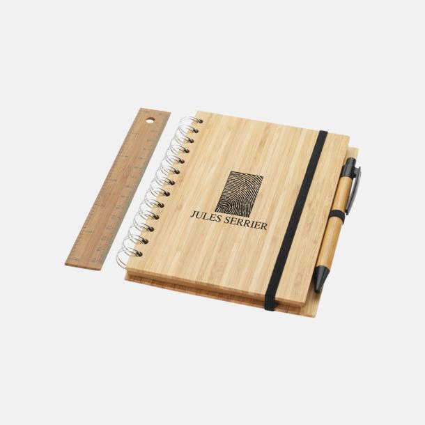 Med reklamlogo Spiralblock i bambu med tillbehör med reklamtryck