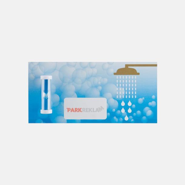 Med reklamlogo Små duschtimer på vykort med reklamtryck