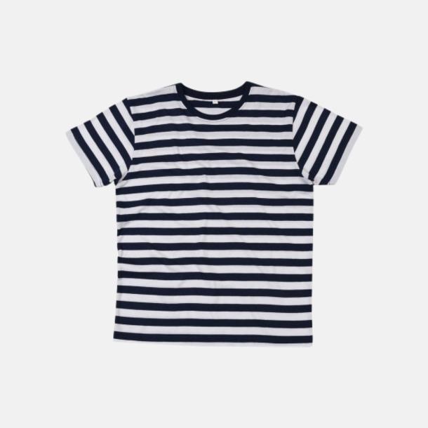 Marinblå/Vit (herr) Randiga t-shirts i herr-, dam- och barnmodell med reklamtryck