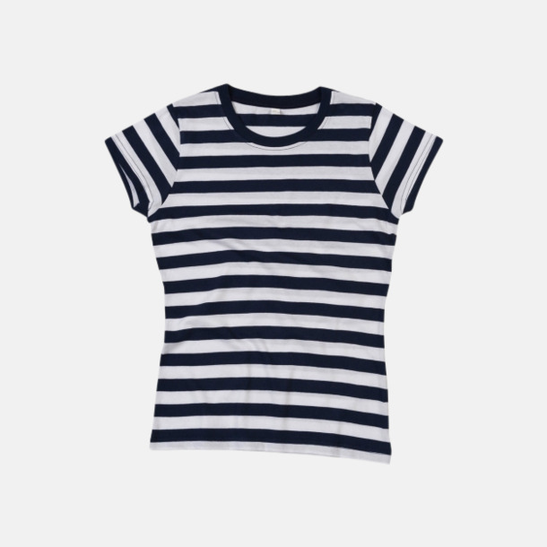 Marinblå/Vit (dam) Randiga t-shirts i herr-, dam- och barnmodell med reklamtryck