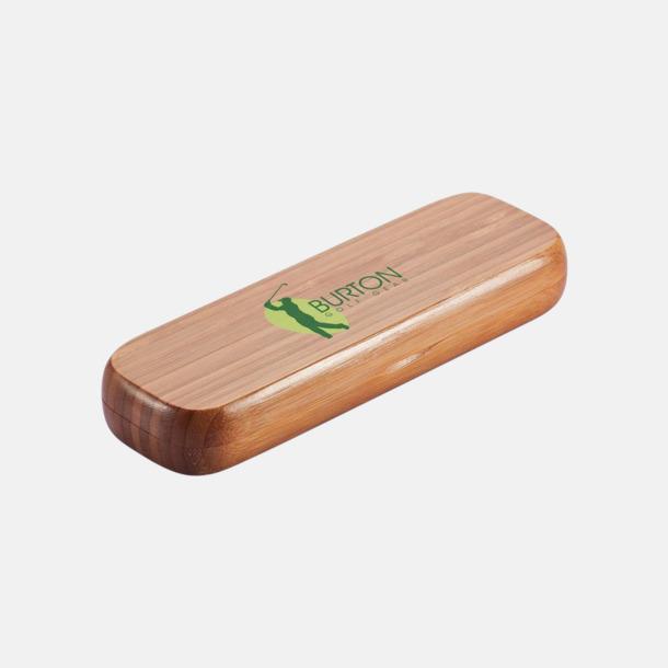 Med reklamlogo Bläckpenna i bambu med matchande fodral - med reklamlogo