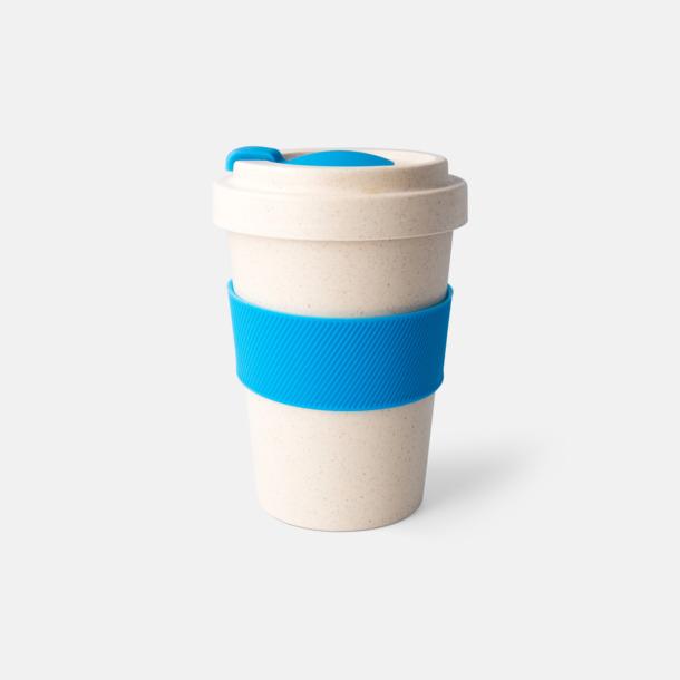 Ljusblå Take away-muggar i ekobambu & silikon - med reklamtryck