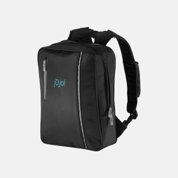 Med reklamlogo Mörka laptopryggsäckar med reklamtryck