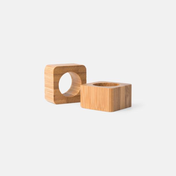 Brun Set med 2 servettringar i bambu med reklamlogo