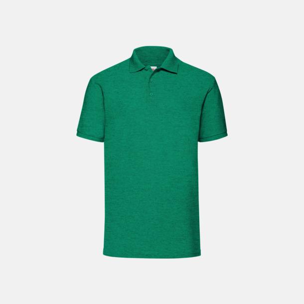 Heather Green Pikétröjor med reklamtryck eller brodyr