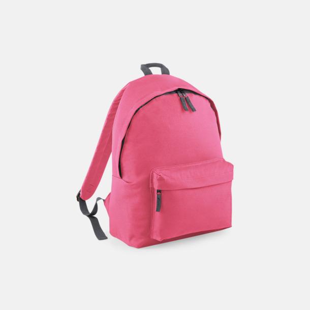 True Pink/Graphite Grey Klassisk ryggsäck i 2 storlekar med eget tryck