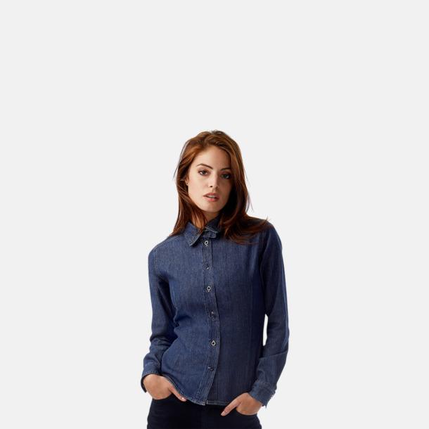 Slimmade jeansblusar med reklamlogo