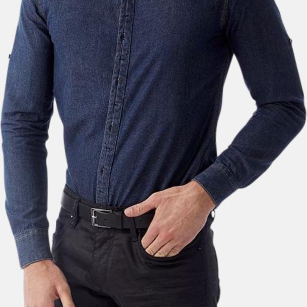 Slimmade jeansskjortor med reklamlogo