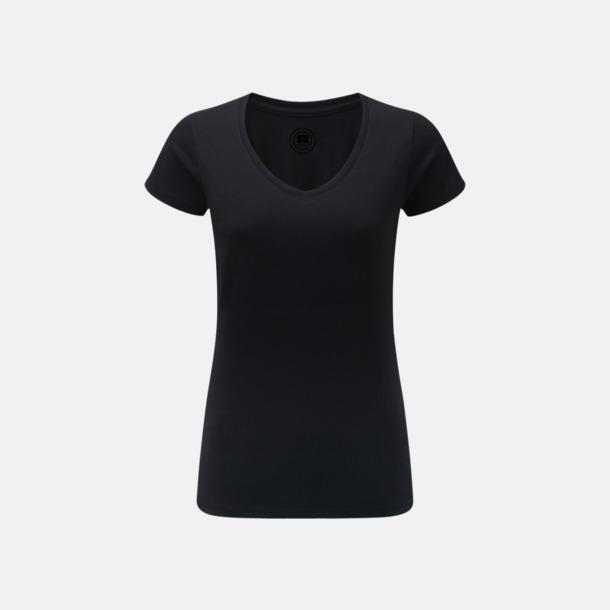 Svart (v-neck dam) Färgstarka t-shirts i herr- och dammodell med reklamtryck