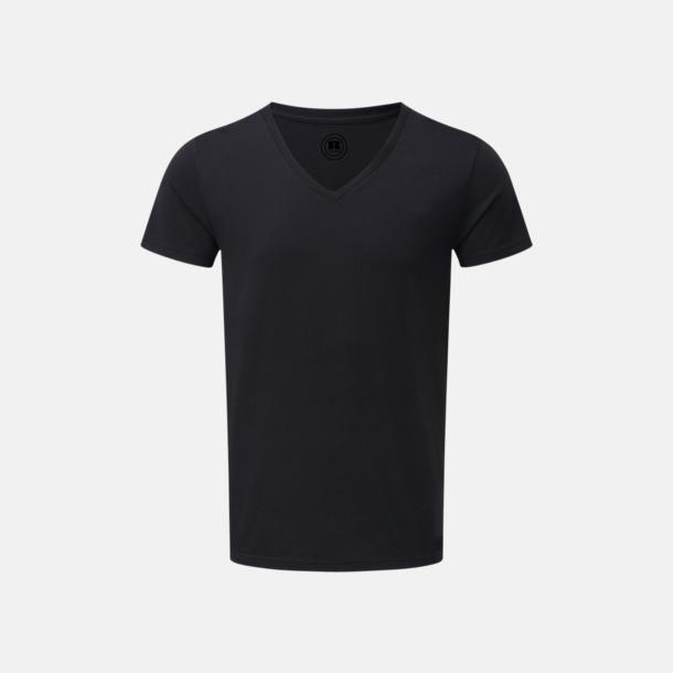 Svart (v-neck herr) Färgstarka t-shirts i herr- och dammodell med reklamtryck