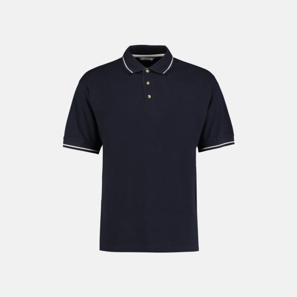 Marinblå/Vit (herr) Tvåfärgade pikétröjor i herr- och dammodell med reklamtryck