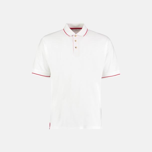 Vit/Bright Red (herr) Tvåfärgade pikétröjor i herr- och dammodell med reklamtryck
