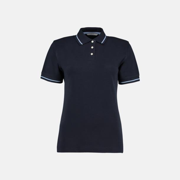 Marinblå/Ljusblå (dam) Tvåfärgade pikétröjor i herr- och dammodell med reklamtryck