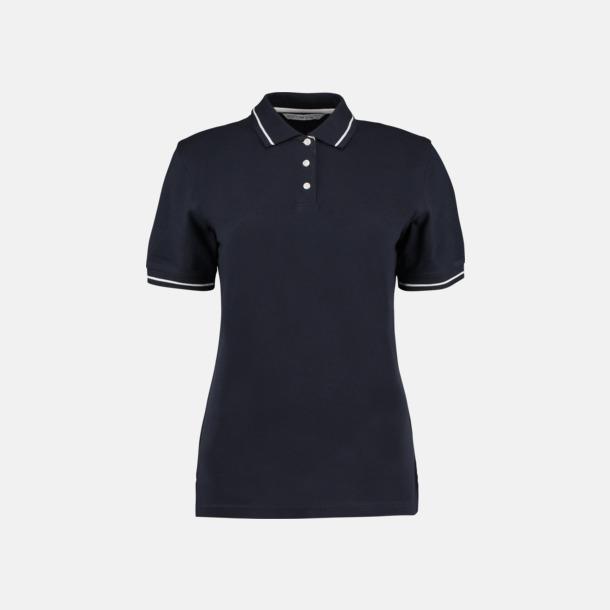 Marinblå/Vit (dam) Tvåfärgade pikétröjor i herr- och dammodell med reklamtryck