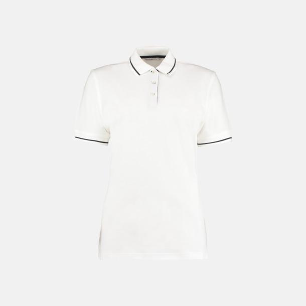 VitMarinblå (dam) Tvåfärgade pikétröjor i herr- och dammodell med reklamtryck