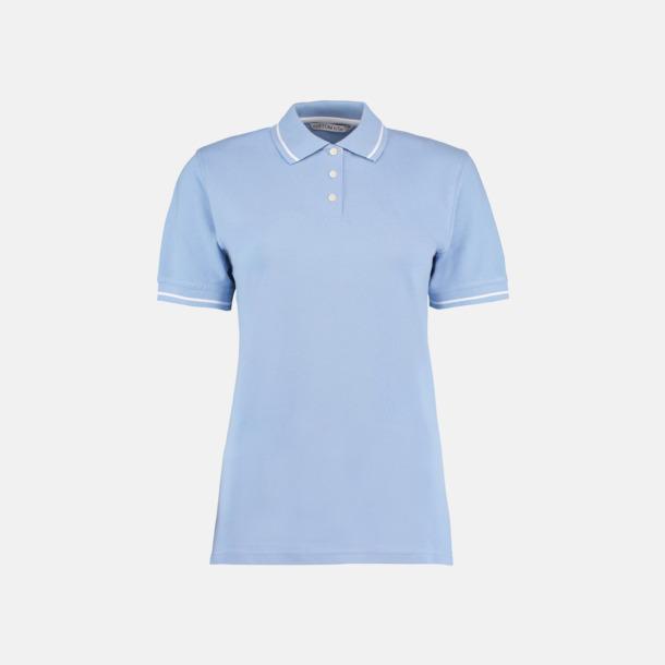 Ljusblå/Vit (dam) Tvåfärgade pikétröjor i herr- och dammodell med reklamtryck