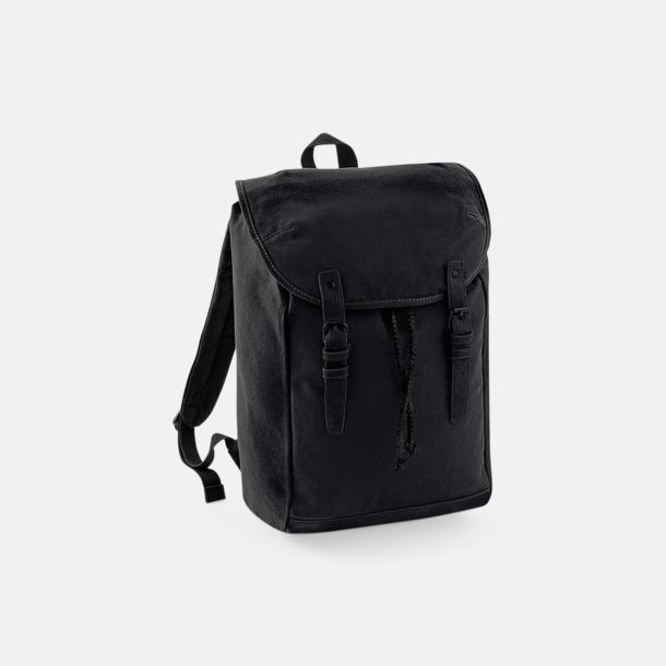 Helsvart Vintage-ryggsäckar med reklamtryck