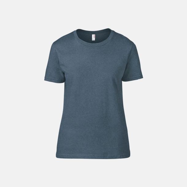 Heather Navy (dam) Snygga bas t-shirts för herr & dam - med reklamtryck