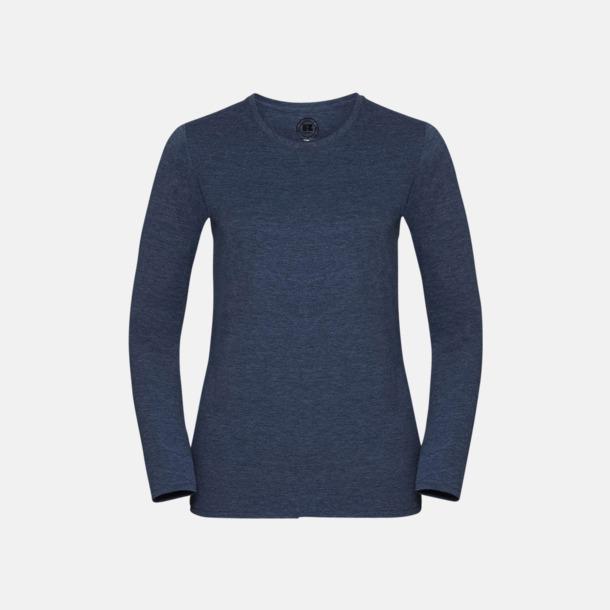 Bright Navy Marl (dam) Färgstarka långärms t-shirts i herr-, dam och barnmodell
