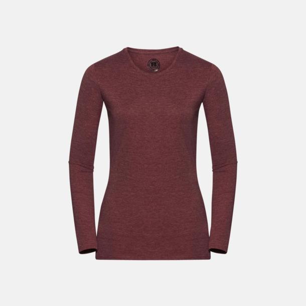 Maroon Marl (dam) Färgstarka långärms t-shirts i herr-, dam och barnmodell