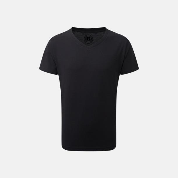Svart (v-neck pojke) Barn t-shirts i u- och v-hals med reklamtryck