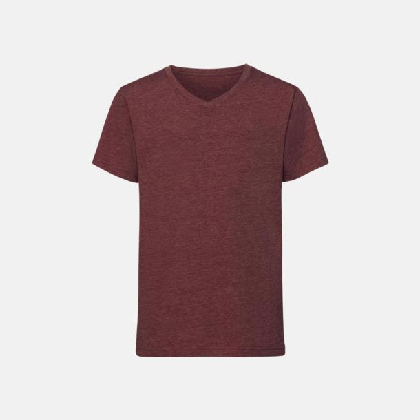 Maroon Marl (v-neck pojke) Barn t-shirts i u- och v-hals med reklamtryck