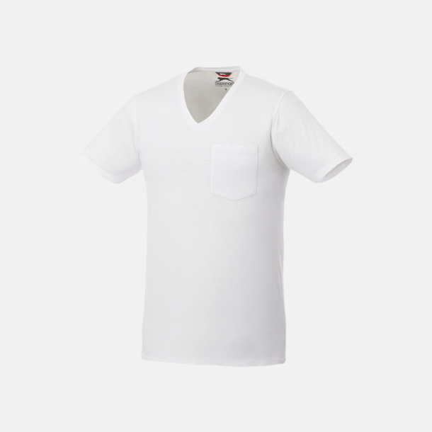 Vit Pocket t-shirts med v-neck med reklamtryck