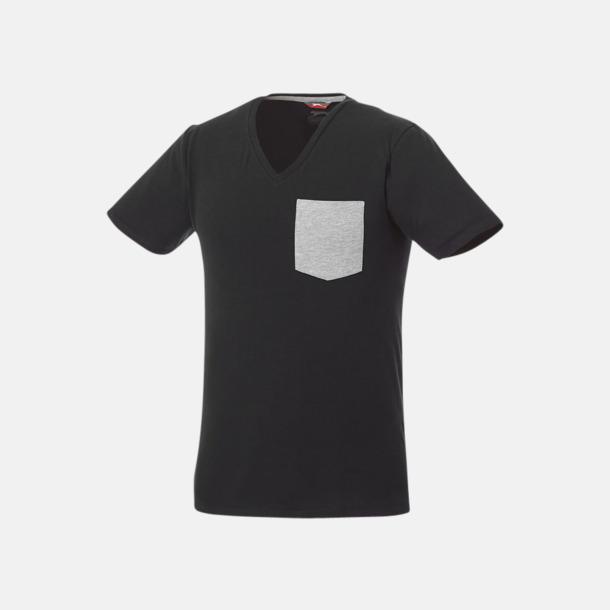 Svart/Sport Grey (melange) Pocket t-shirts med v-neck med reklamtryck