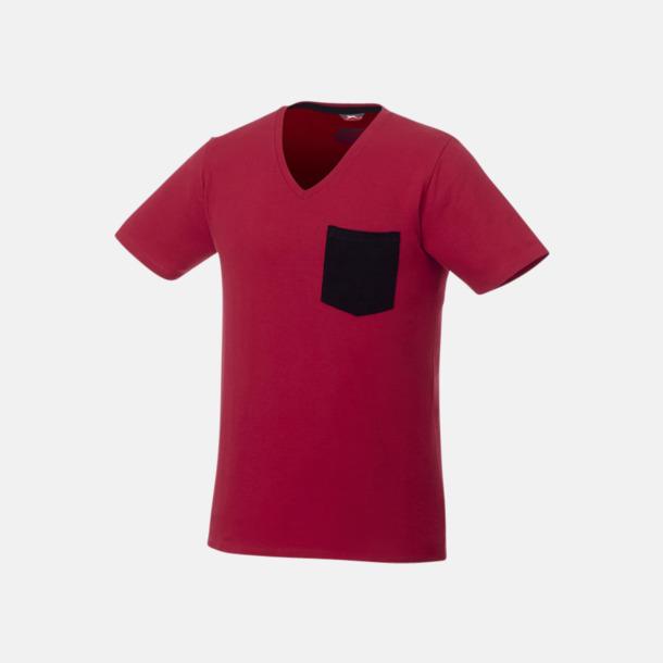Mörkröd/Marinblå Pocket t-shirts med v-neck med reklamtryck