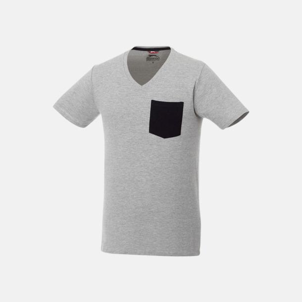 Sport Grey (melange)/Marinblå Pocket t-shirts med v-neck med reklamtryck