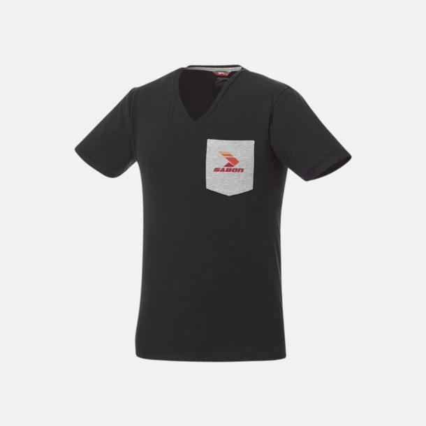 Med screentryck Pocket t-shirts med v-neck med reklamtryck