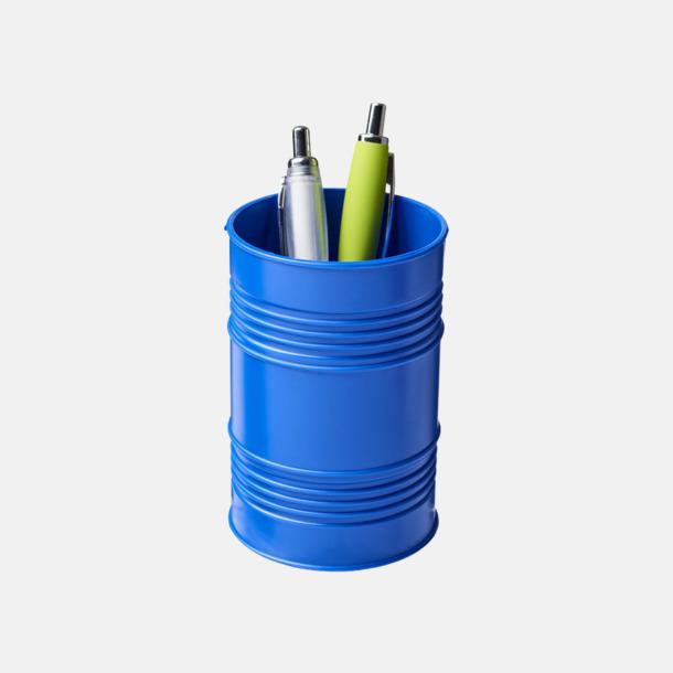 Blå Pennhållare i form av ett oljefat med reklamtryck
