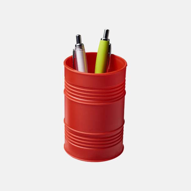 Röd Pennhållare i form av ett oljefat med reklamtryck