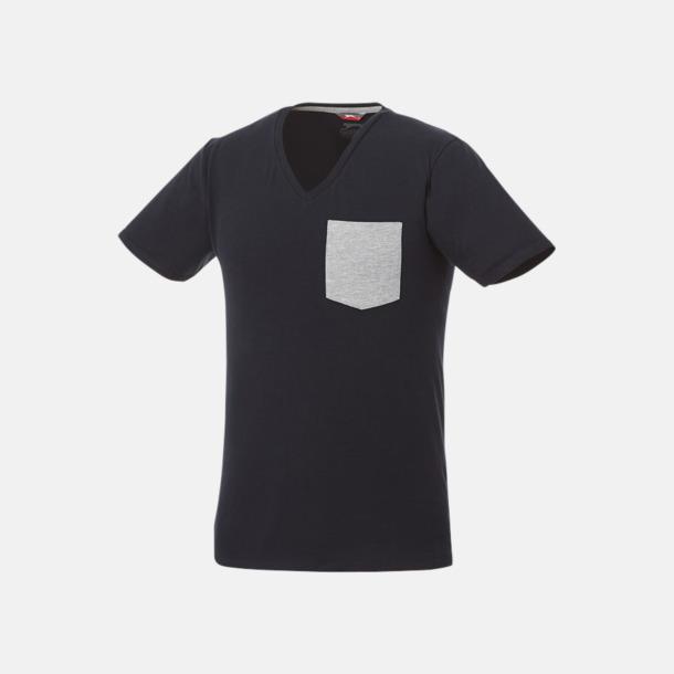 Marinblå/Sport Grey (melange) Pocket t-shirts med v-neck med reklamtryck