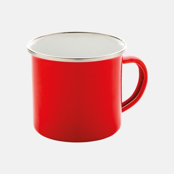 Röd Emaljmuggar med reklamtryck