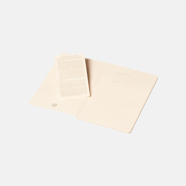 Fina, stora anteckningsböcker från Moleskine med reklamtryck