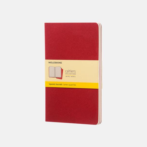 Cranberry Red (squared) A5-anteckningsböcker från Moleskine med reklamtryck