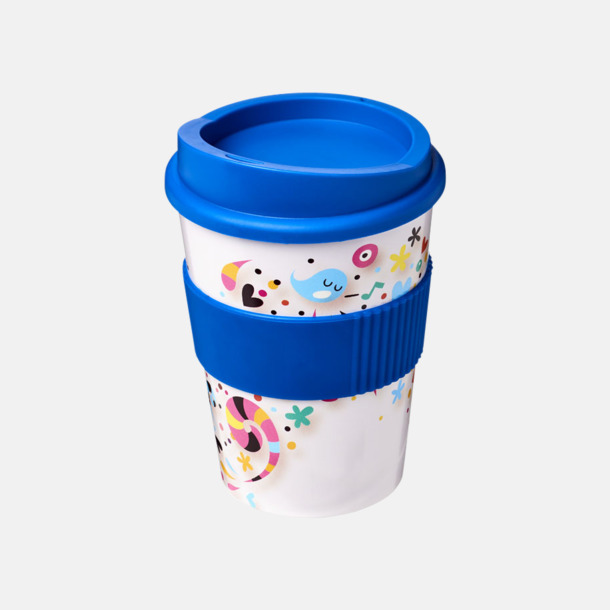 Mellanblå Digitaltryckta take away-muggar på 30 cl