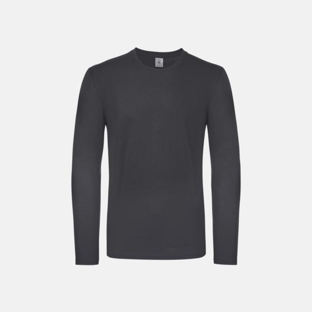 Mörkgrå solid (herr) Fina, långärmade kvalitets bas t-shirts med reklamtryck