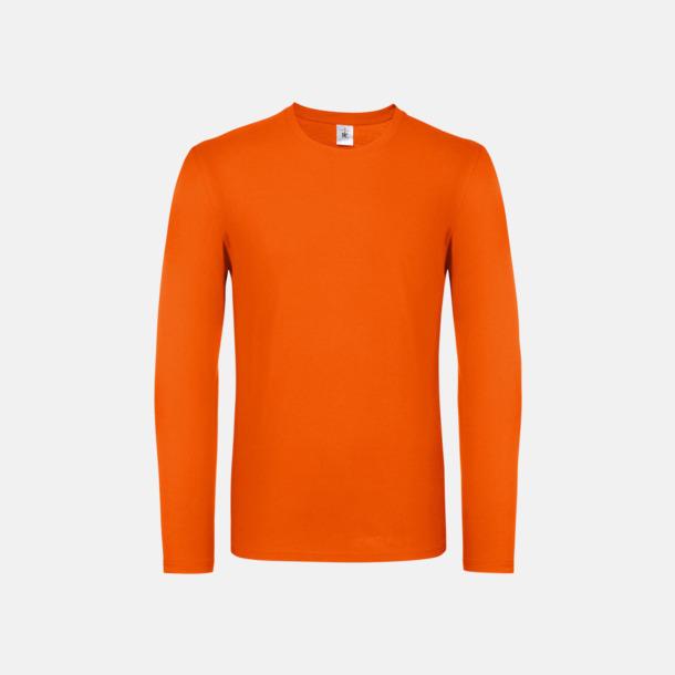Orange (herr) Fina, långärmade kvalitets bas t-shirts med reklamtryck