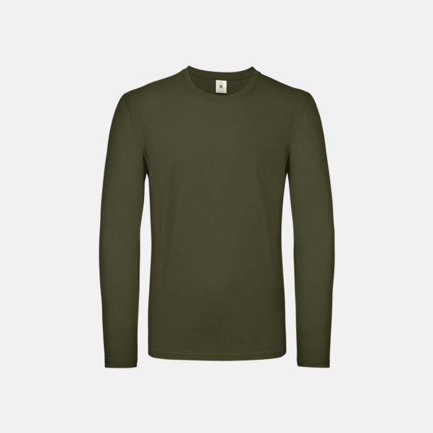 Urban Khaki (herr) Fina, långärmade kvalitets bas t-shirts med reklamtryck