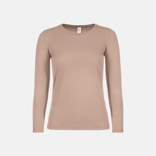 Millennial Pink (dam) Fina, långärmade kvalitets bas t-shirts med reklamtryck