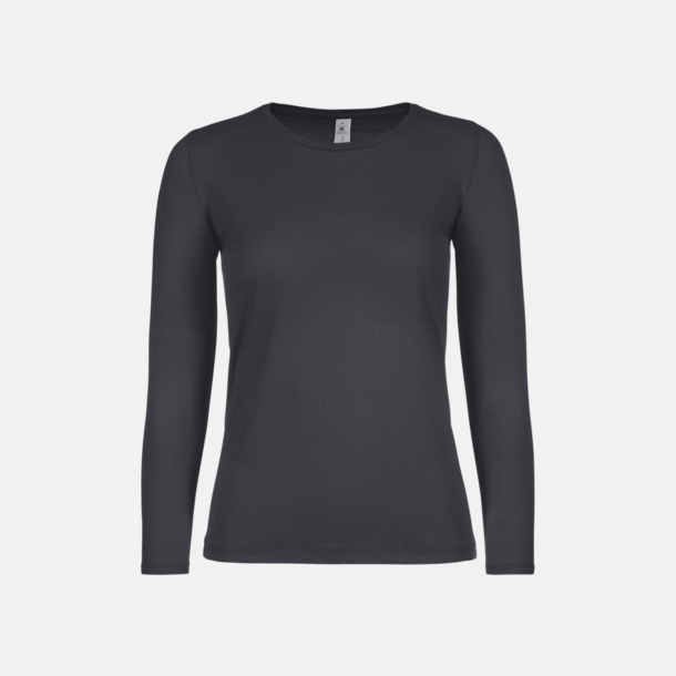 Mörkgrå solid (dam) Fina, långärmade kvalitets bas t-shirts med reklamtryck