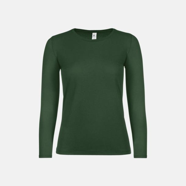 Bottle Green (dam) Fina, långärmade kvalitets bas t-shirts med reklamtryck