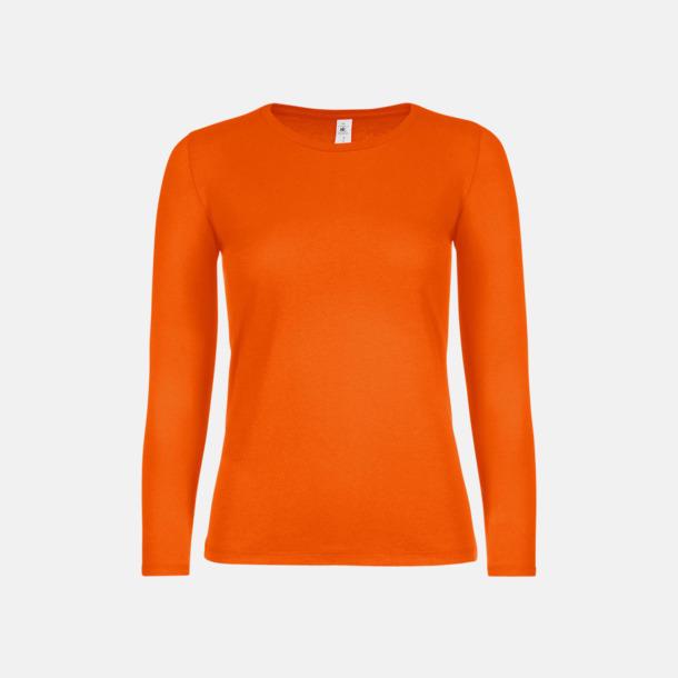 Orange (dam) Fina, långärmade kvalitets bas t-shirts med reklamtryck