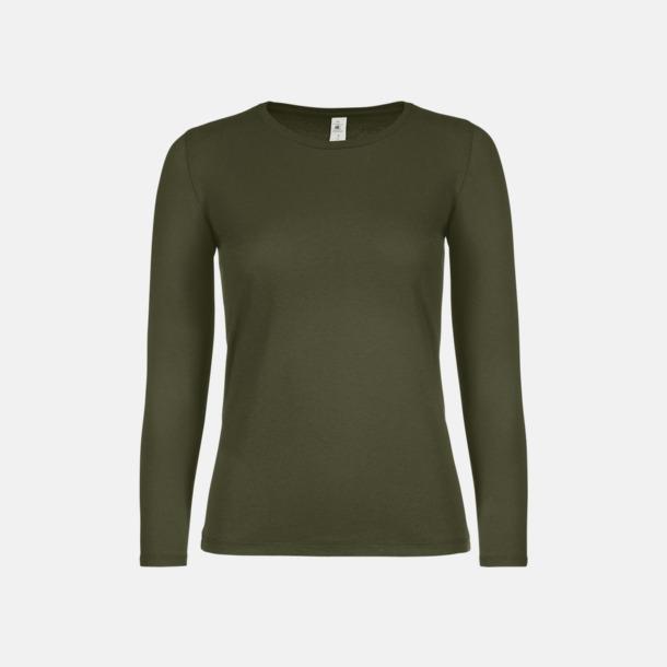 Urban Khaki (dam) Fina, långärmade kvalitets bas t-shirts med reklamtryck