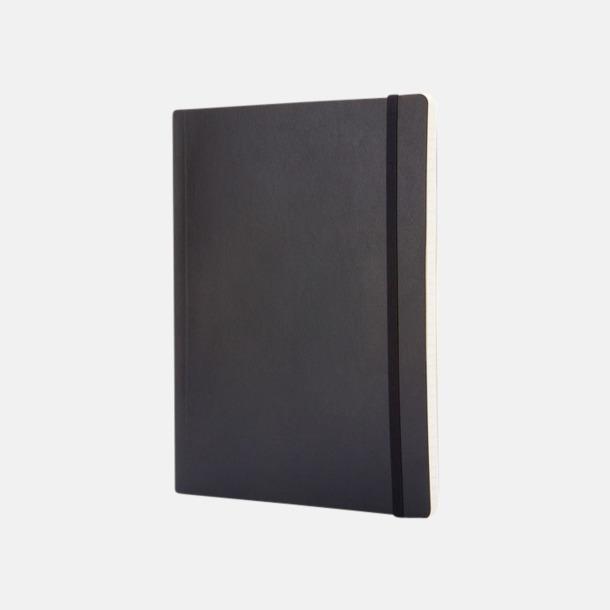 Svart (ruled) Moleskine extra stora, mjuka notisböcker i 4 utföranden med reklamtryck