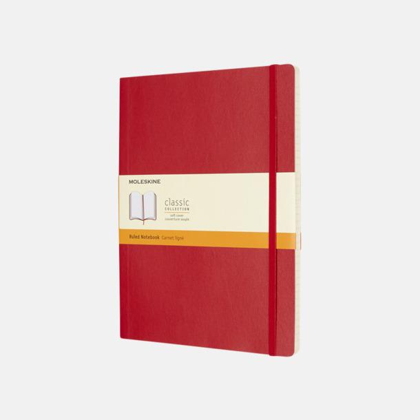 Scarlet Red (ruled) Moleskine extra stora, mjuka notisböcker i 4 utföranden med reklamtryck