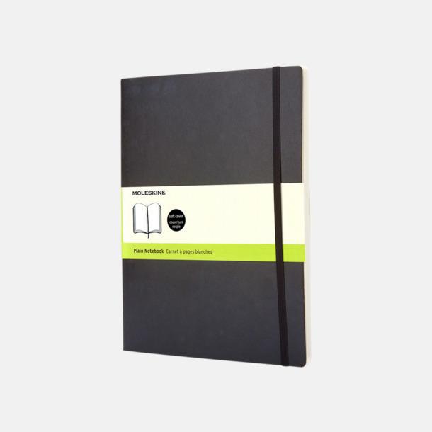 Svart (plain) Moleskine extra stora, mjuka notisböcker i 4 utföranden med reklamtryck